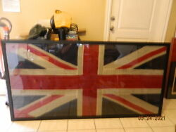 Antique Ww1 Naval British Linen Early Union Jack Battle Flag Mounted 36 X 72