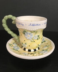 Mary Engelbreit Small Teacup And Saucer--rare Bumble Bee/morning Glory 2003