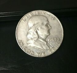 1963-d Franklin Half Dollar 90 Silver Content 1963-s Inv367 Nice Coin Free Ship