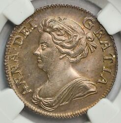 Fresh, Lovely Toned 1708 Queen Anne Shilling - Pcgs Ms-63