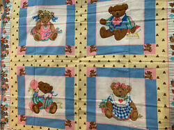 Vintage Fabric Panel Baby Blanket Teddy Bears 90andrsquos Balloons 44x33