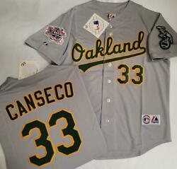 Majestic 1989 Oakland A's Jose Canseco World Series Baseball Jersey Gray Nwt