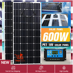 Solar Panel 600w 300w Power Inverter Camping Generator Car Battery Charger Kit