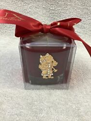 LUX CANDLE IN CLEAR BOX FRAGRANCE NOEL RED CANDLE IN CLEAR GLASS W GOLD SANTA