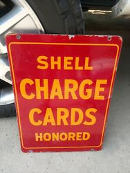 """Original Shell Charge Card Honored Double Sided Porcelain Sign 19-3/8""""x14-1/8"""""""