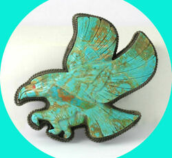 Vintage Native American Indian Turquoise Eagle Bolo Slide 925 Silver 3 3/8 X 3