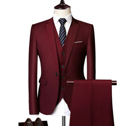 Suits Jacket Vest Pants Business Party Tuxedos Wedding Groom Mens 1 Buttons 2021
