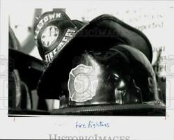 1991 Press Photo Leather And Plastic Fire Helmets At Stamford Historical Society