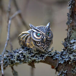 Fashion Antique Owl Ring Animal Punk Jewelry For Women Men Gift Size 7-13