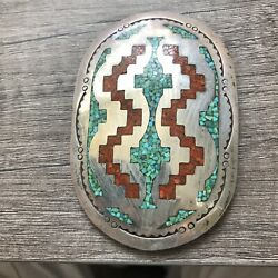 Navajo Chip Inlay Turquoise Coral Bolo Bola Silver Attributed To Tommy Singer