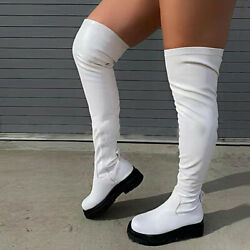 Womenand039s High Boots Over Knee Stretch Thigh Chunky Platform Long Boots Shoe