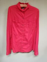 Rei Womens Long Sleeves Top Button Collared Snap Front Pockets Pink Size Large