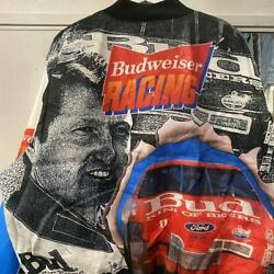 Vintage Budweiser Racing Chalk Line Jacket Size Xxl Made In Usa Very Rare