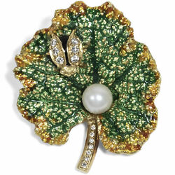 Funny Blatt-brosche From 18 Carat Gold With Diamonds Bead And Email Um 1980