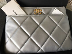 19 O Case Quilted Grey Metallic Leather Clutch Large Bag Pouch Silver Nwb