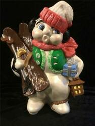 Christmas Decoration Collectible Very Large Snowman Handmade Vintage Ceramic