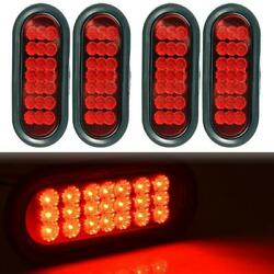 4x 6 Oval Red 21led Side Marker Truck Trailer Stop Turn Tail Light W/ Reflector
