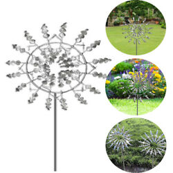 3d Wind Spinner Magical Metal Windmill Wind Powered Sculpture With Garden Stake