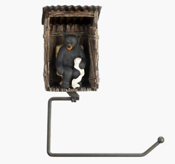 New Outhouse Bathroom Toilet Paper Roll Holder Wall Mount Black Bear Cabin Decor