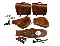 Royal Enfield Classic 500 350 Rear And Front Leather Seat And Bags, Belt, Grip Level