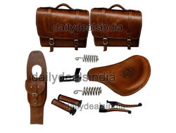 Royal Enfield Classic 500cc 350cc Front Leather Seat With Belt, Bags, Grip Lever