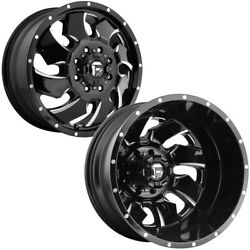 Set Of 6-20 Inch Fuel D574 Cleaver Dually 8x210 Black/milled Wheels Rims