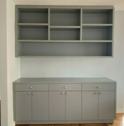 Barely Used High Quality Grey/blue Wooden Cabinets W/ Doors Matching Shelves