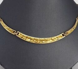 Alaskan Pure Natural Gold Nuggets On 10k Backing With 14k Figaro Link Necklace