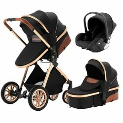 Kid Stroller Baby Carriage Leather Royal Luxury Aluminum Frame High Newborn Seat