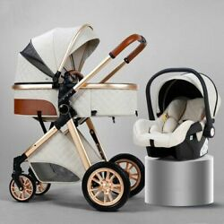 Travel Stroller Baby Kid Newborn Carriage Pu Leather Aluminum Frame Comfortable