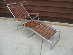 Vintage Mid-century Aluminum Red Wood 8-slat Folding Chaise Lounge Chair  A