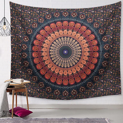 Indian Hippie Bohemian Tapestry Domenow Psychedelic Peacock Mandala Wall Hanging