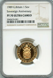 Great Britain 1989 Gold Sovereign 500 Year Anniversary United Kingdom Ngc Pf-70