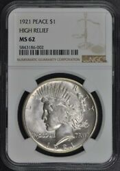 1921 Peace Dollar High Relief S1 Ngc Ms62