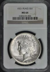 1921 Peace Dollar High Relief S1 Ngc Ms64