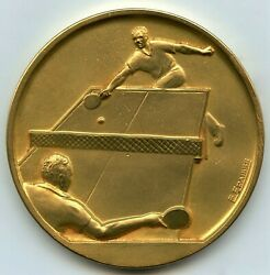 France Man Playing Table Tennis Ping Pong Gilded Bronze Boxed Medal By Fraisse