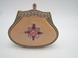 Partylite Portable Votive Candle Holder Enameled Purse Shape With Mirror