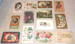 Antique 13 Lot 1911 Valentine Christmas Thanksgiving Black Americana Whimsy More