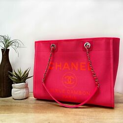 Small Deauville Neon Pink Tote Shopper Shoulder Bag - Brand New