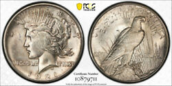 1921 1 Peace Dollar Pcgs Ms 64 Uncirculated High Relief Key Date Cert9711