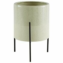 Brand – Rivet Mid-century Ceramic Planter With Iron Stand 14h Pale Green