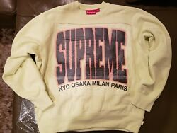 Supreme Cities Arc Crewneck   Small   Pale Lime 🍋   Fw21   Brand New In Hand 💥