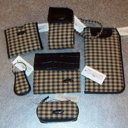 Longaberger Khaki Check 6-piece Accessory Set New With Tags From Homestead
