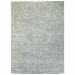 9and0393x11and0396 Organic Wool Hand Knotted Gray Angora Oushak Oriental Rug R69078
