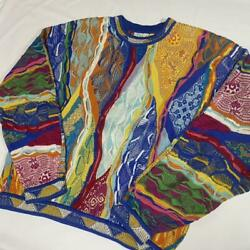 Vintage Coogi Cotton Knitted Sweater Size Large Multicolor Made In Australia