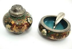 Antique Chinese Cloisonne Open Salt W Spoon And Pepper Shaker Floral