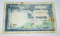 1953 Une Piastre 1 Dong Laos Vietnam Indochina Cambodia Currency Banknote Note