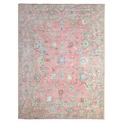 9'4x11'7 Angora Oushak Pure Wool Hand Knotted Coral Pink Oriental Rug R69132
