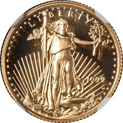 1999-w Gold American Eagle 5 Ngc Pr70 Ultra Cameo Brown Label - Stock