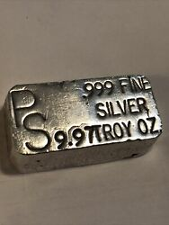 Vintage Placer Sierra Precious Metals Reclaiming Co. 9.97 Oz Silver Poured Bar